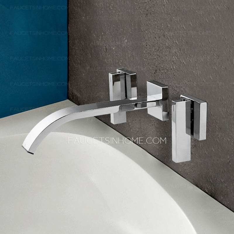 Contemporary Wall Mounted Electroplated Finish Bathroom Faucet