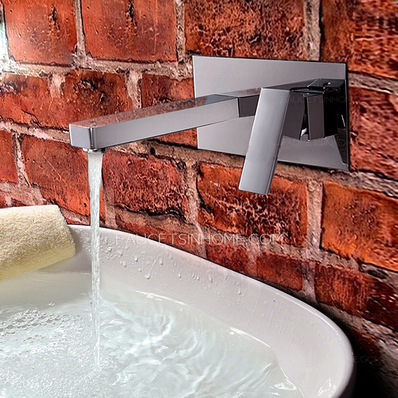 Two Holes Electroplated Finish Wall Mounted Bathroom Faucet