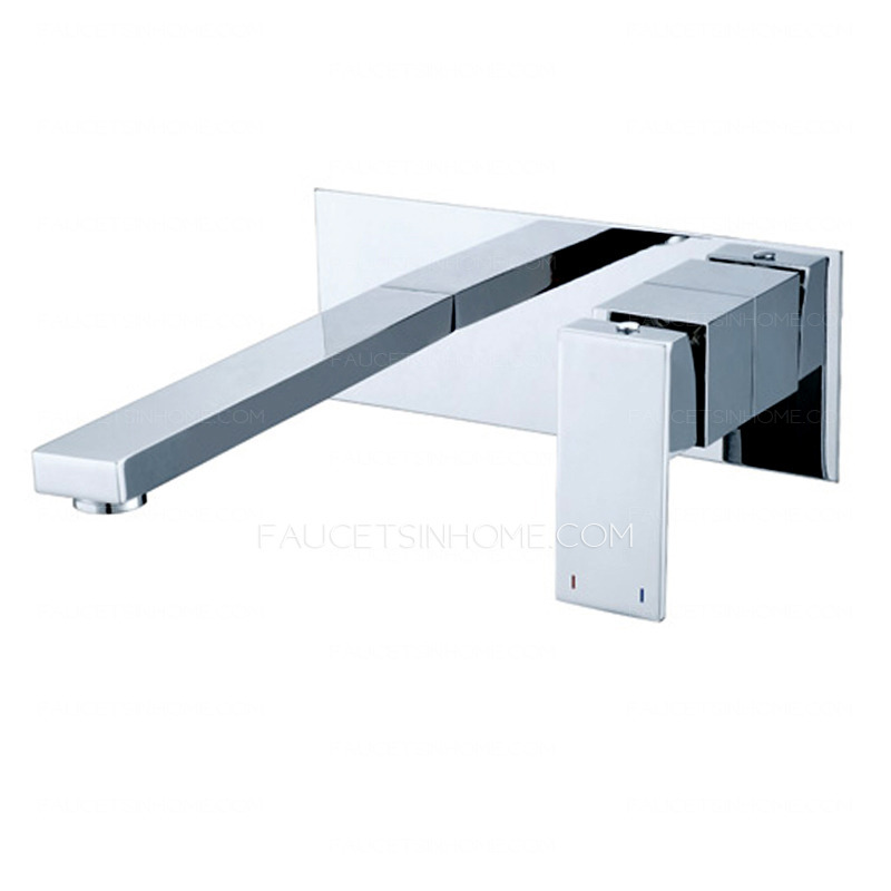 two holes finish wall mounted bathroom faucet