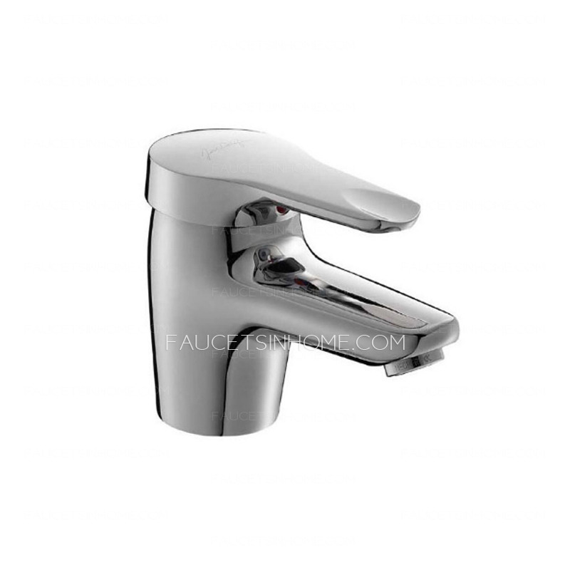 Shiny Short Chrome Finish Bathroom Sink Faucet