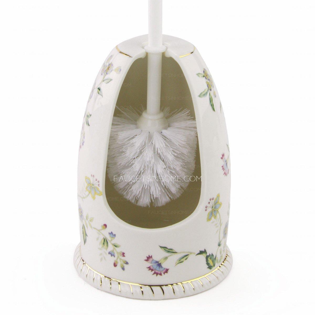 exquisite floral porcelain innovative toilet brush holder. Black Bedroom Furniture Sets. Home Design Ideas