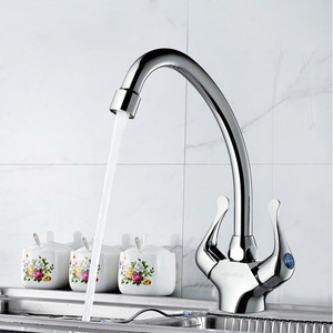 Modern Rotatable Copper Kitchen Faucets With Two Handles