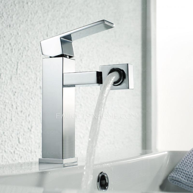 Contemporary Rotatable Square Shape Chrome Bathroom Faucets