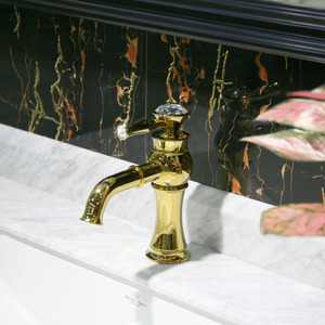 Decorated Crystal Electroplated Gold Plated Bathroom Faucets