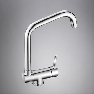 Contemporary Copper Folded Chrome Kitchen Faucet