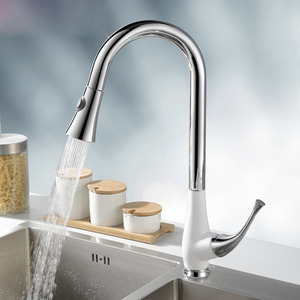 White Baked Porcelain Rotatable Pullout Faucet