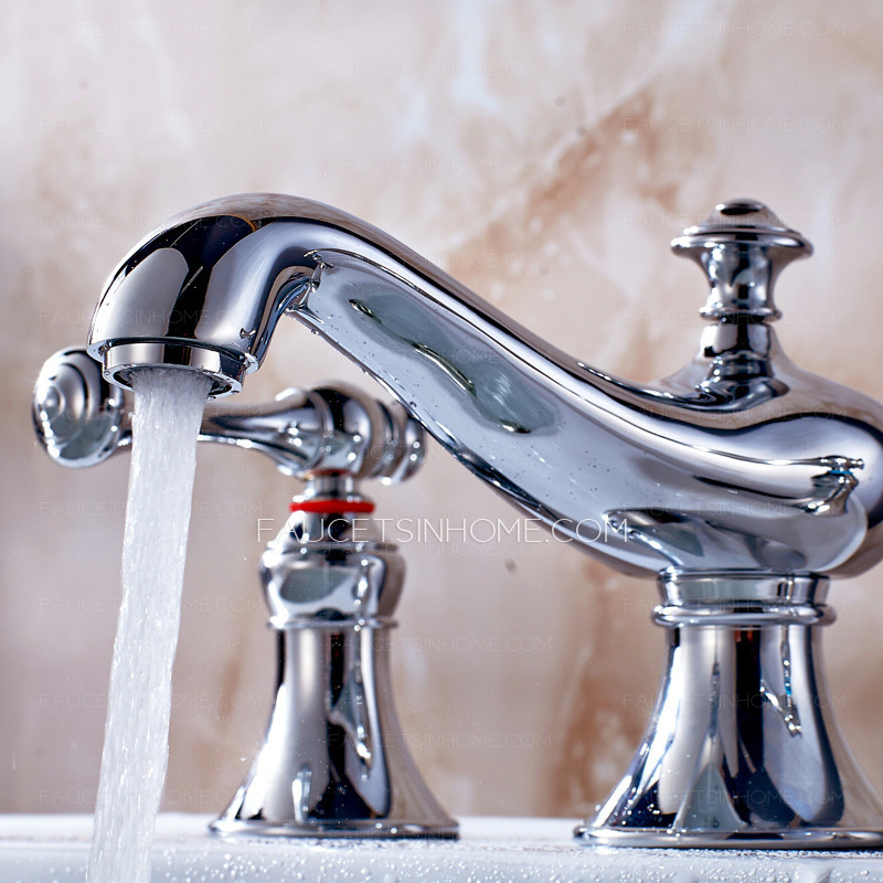 Vintage Chrome Widespread Bathroom Sink Faucet