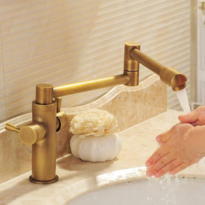 Golden Pot Filler Faucets Double Handles Folding