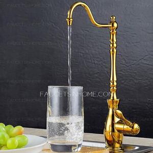 Vintage Rotatable Cat Drinking Water From Faucet Golden