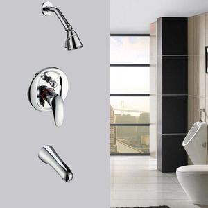 Silver Three Holes Wall Mounted With Faucet Spout