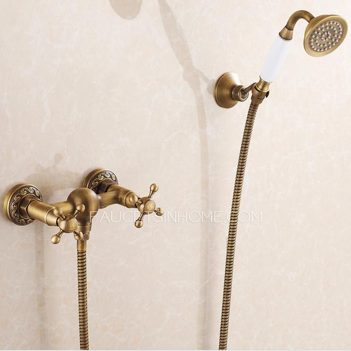 Quality Antique Brass Shower Faucets Cross Handles
