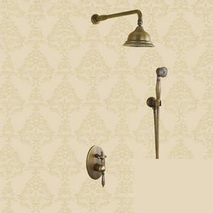 Antique Three Holes Wall Mounted Shower Faucet Set