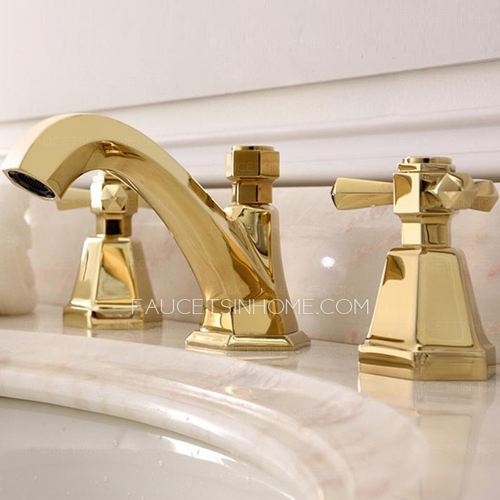 Antique Brass Bathroom Faucets Widespread Golden
