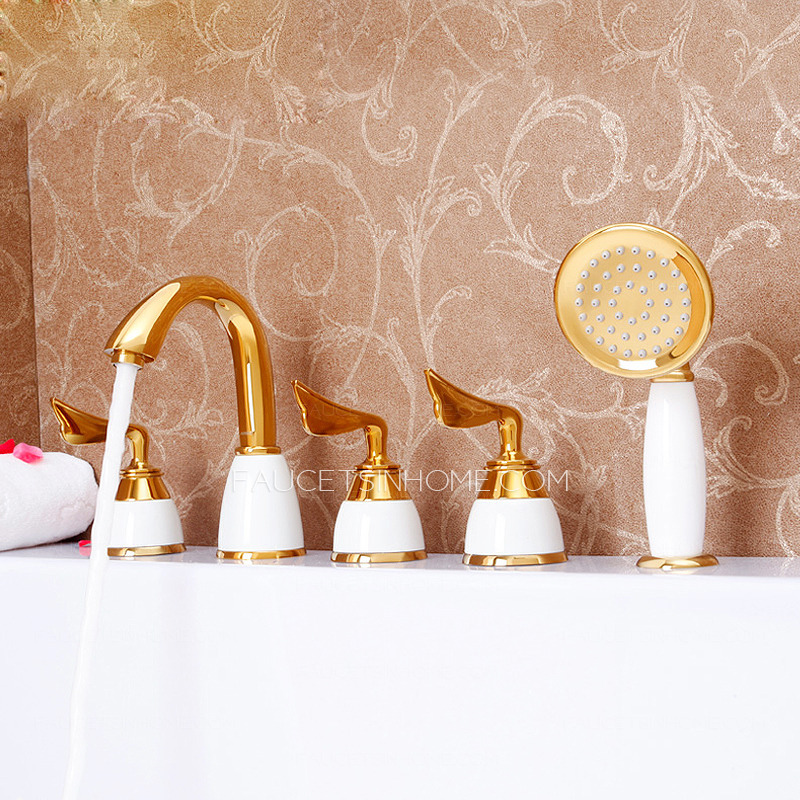 Golden Five Sets Bathtub Faucet