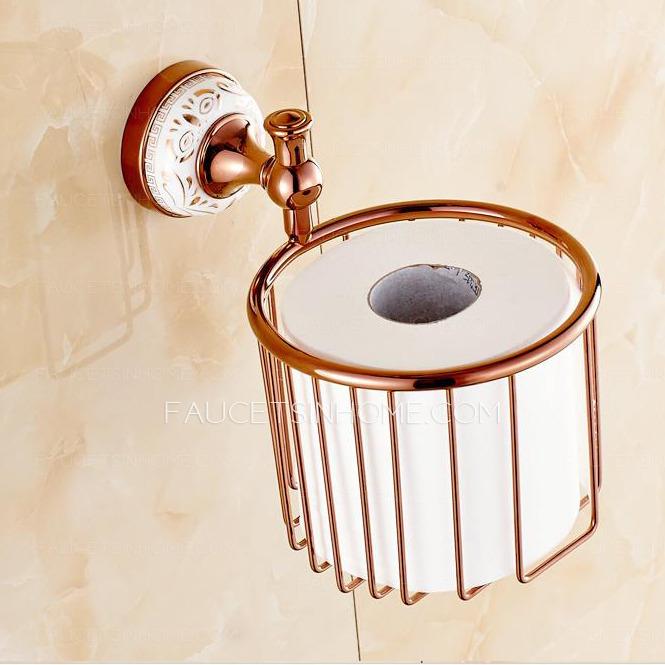 Designed Rose Gold Brass Toilet Paper Holder