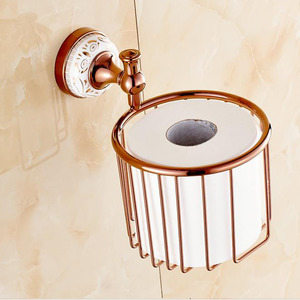 Designed Rose Gold Brass Toilet Paper Holder