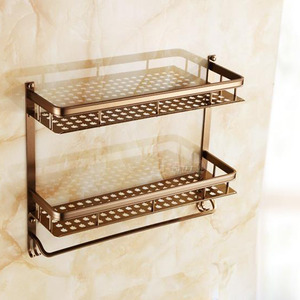 Antique Brown Double Layers Bathroom Shelf Aluminum