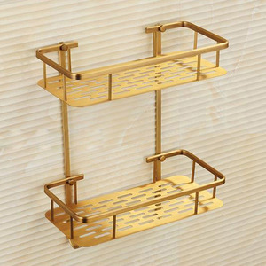 Brass Material Double Layers Of Bathroom Shelf