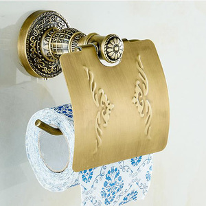 Zinc Alloy Toilet Paper Holder Antique Brass Carving