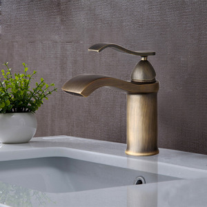 Waterfall Brushed Brass Finish Bathroom Faucets