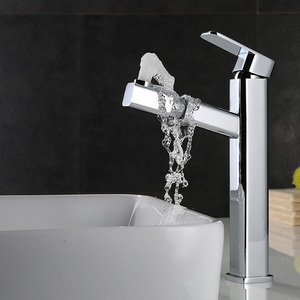 Chrome Finish Pullout Spray Faucet For Bathroom