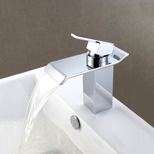 Waterfall Bathroom Sink Faucets Electroplated Finish