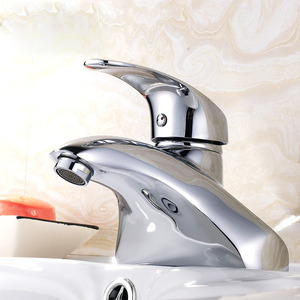 Silver Single Lever Bathroom Faucets Two Holes