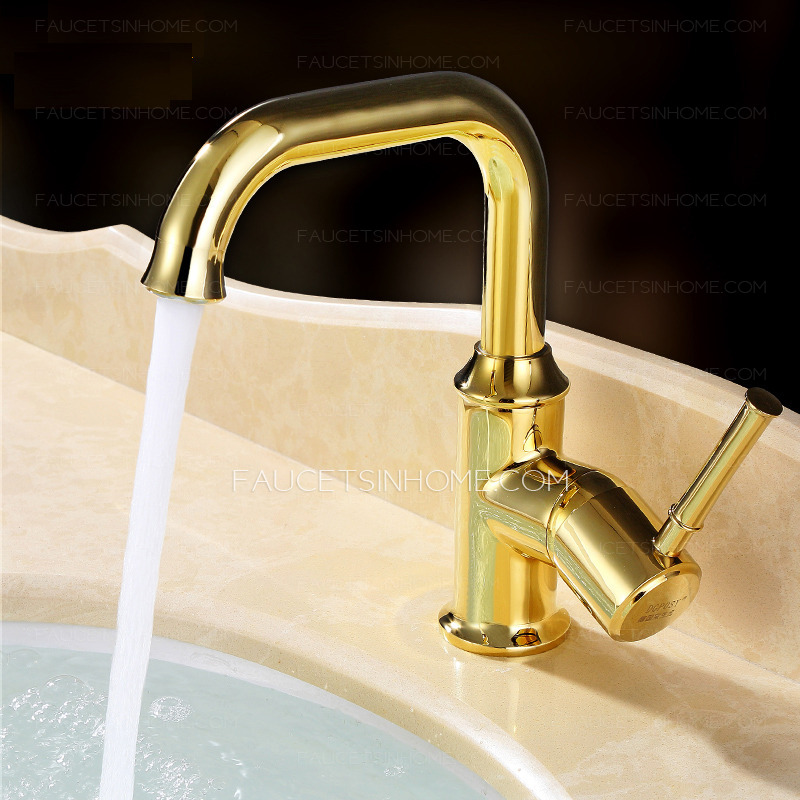 Shiny Polished Brass Retro Bathroom Faucets Golden