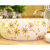 Round Vessel Sink Artistic Ceramic Yellow Barberton Daisy