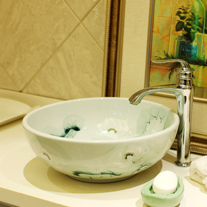 Vessel Bowl Sink Porcelain Green Lotus Pond