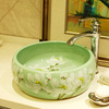 Green Vessel Sink Ceramic White Plum Blossom