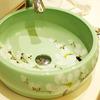 Green Vessel Sink Ceramic White Plum Blossom