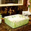 Rectangular Vessel Sink Porcelain Green and White Jasmine
