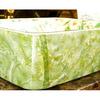 Rectangular Vessel Sink Porcelain Green and White Jasmine