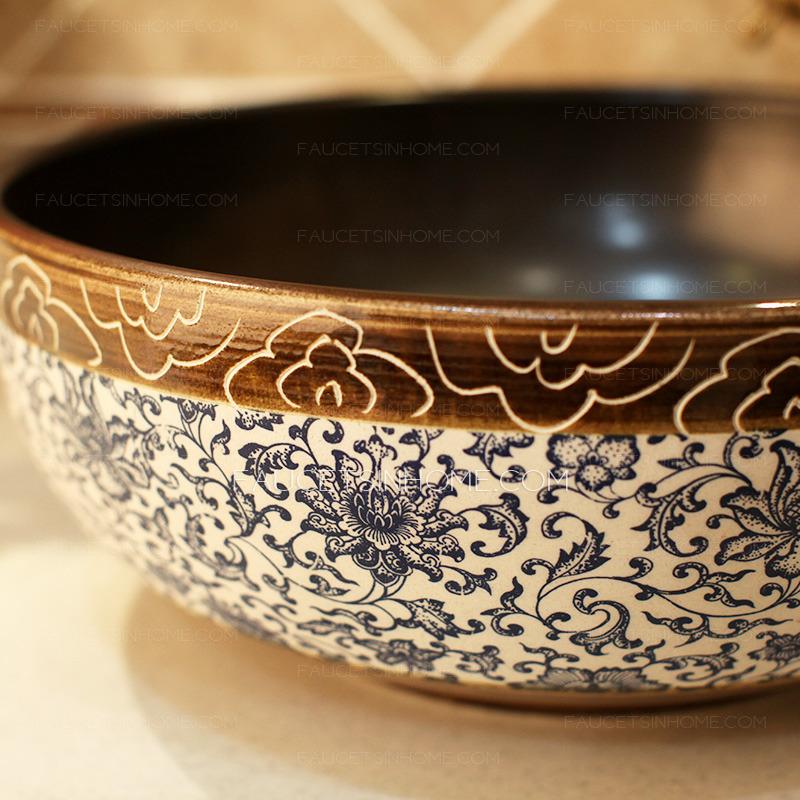 Porcelain Vessel Sink Vintage Blue And White China Single Bowl