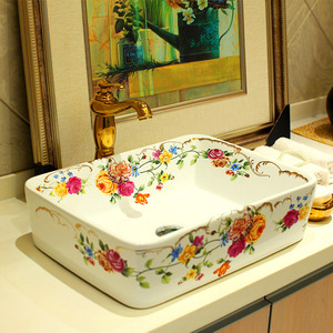Rectangular Vessel Sinks Ceramic White Floral Painting