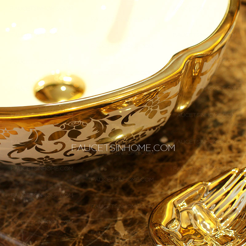 Attractive Gold Vessel Sink Luxury Ceramic Hot Stamping Floral