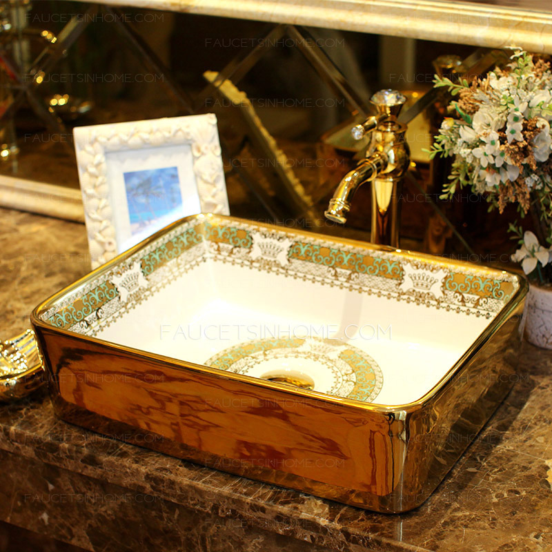 Bathroom Vessel Sink Rectangular Porcelain Gold Pattern