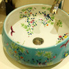 Blue Vessel Sink Antique Chinese Style Floral White and Blue