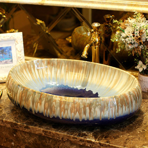 Oval Vessel Sink Designed Porcelain Dark Blue Enamelling