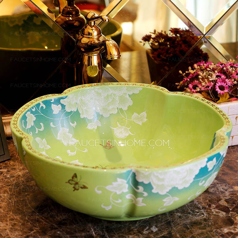 Ceramic Vessel Sink Green And Blue Flower Shape Painting