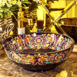 Purple Vessel Sink Vintage Porcelain Flower Shape Pattern