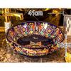 Purple Vessel Sink Vintage Porcelain Flower Shape Pattern
