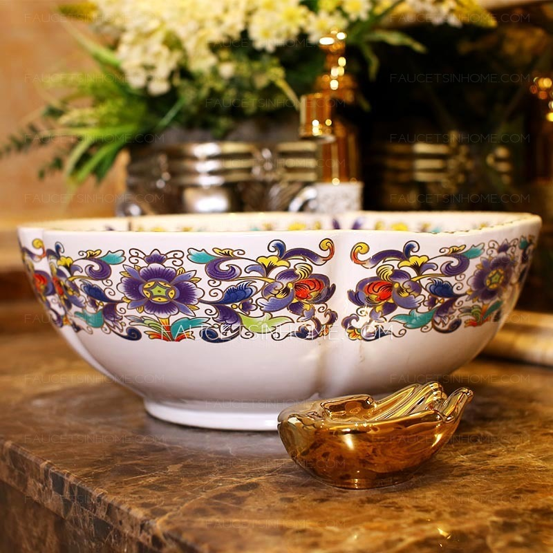 White Vessel Sink Antique Ceramic Flower Shape Pattern