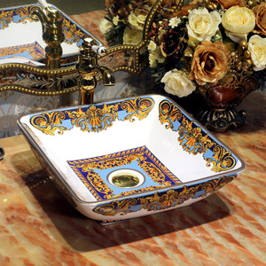 Square Vessel Sinks Artistic Vintage Pattern Painting Blue and Gold