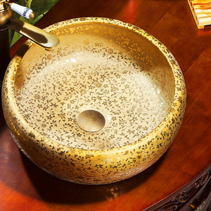Round Vessel Sink Artistic Gold Floral Hot Stamping