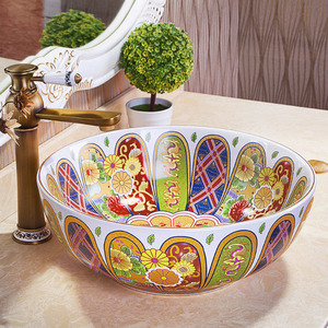 White Vessel Sink Porcelain Antique Pattern Painting