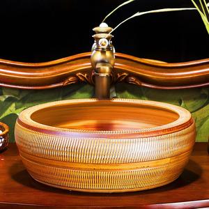 Vintage Vessel Sink Porcelain Chinese Style Pattern Carved Burlywood