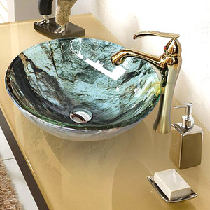 Glass Vessel Sinks Modern Colored Glazed