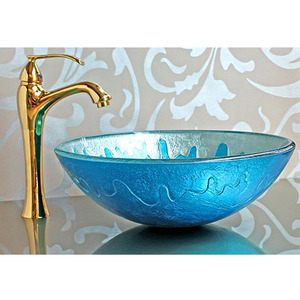 Blue Glass Vessel Sink Mediterranean Style Colored Glazed